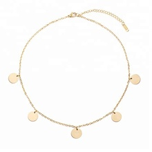 Women 925 Sterling Silver Coin Small Gold Disc Layered Choker Necklace