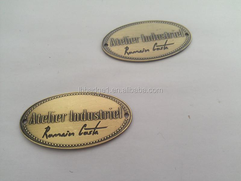 Oval Furniture Label Metal Funiture Nameplate Metal Plates Brand Logos Engraved Metal Labels For