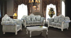 2014 Simple design comfortable fabric sofa set was made by imported rubber wood+print fabric+high density sponge for living room