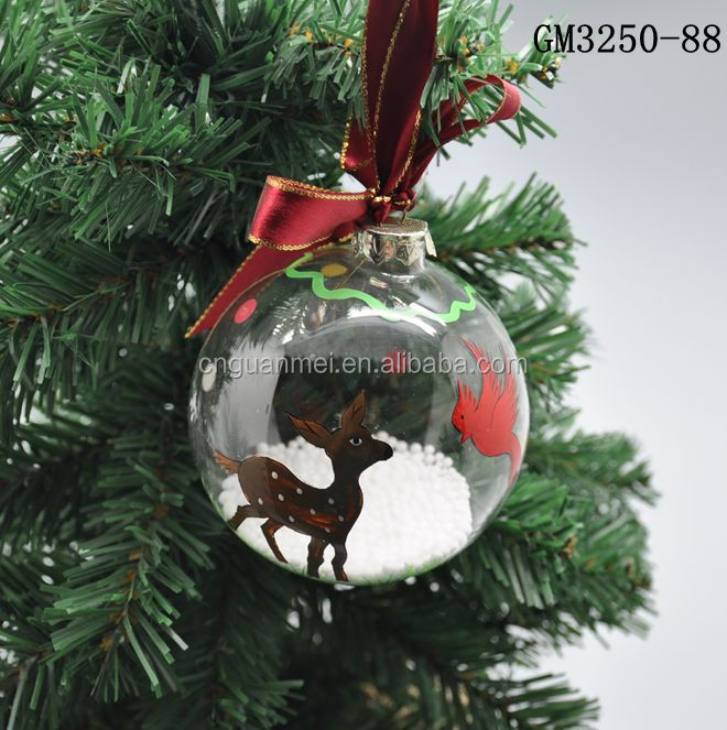 wholesale handpainted reindeer ball for hanging decoration , christmas hangers