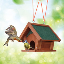 Factory direct sell solid wood rainproof beautiful durable bird feeder garden bird cage