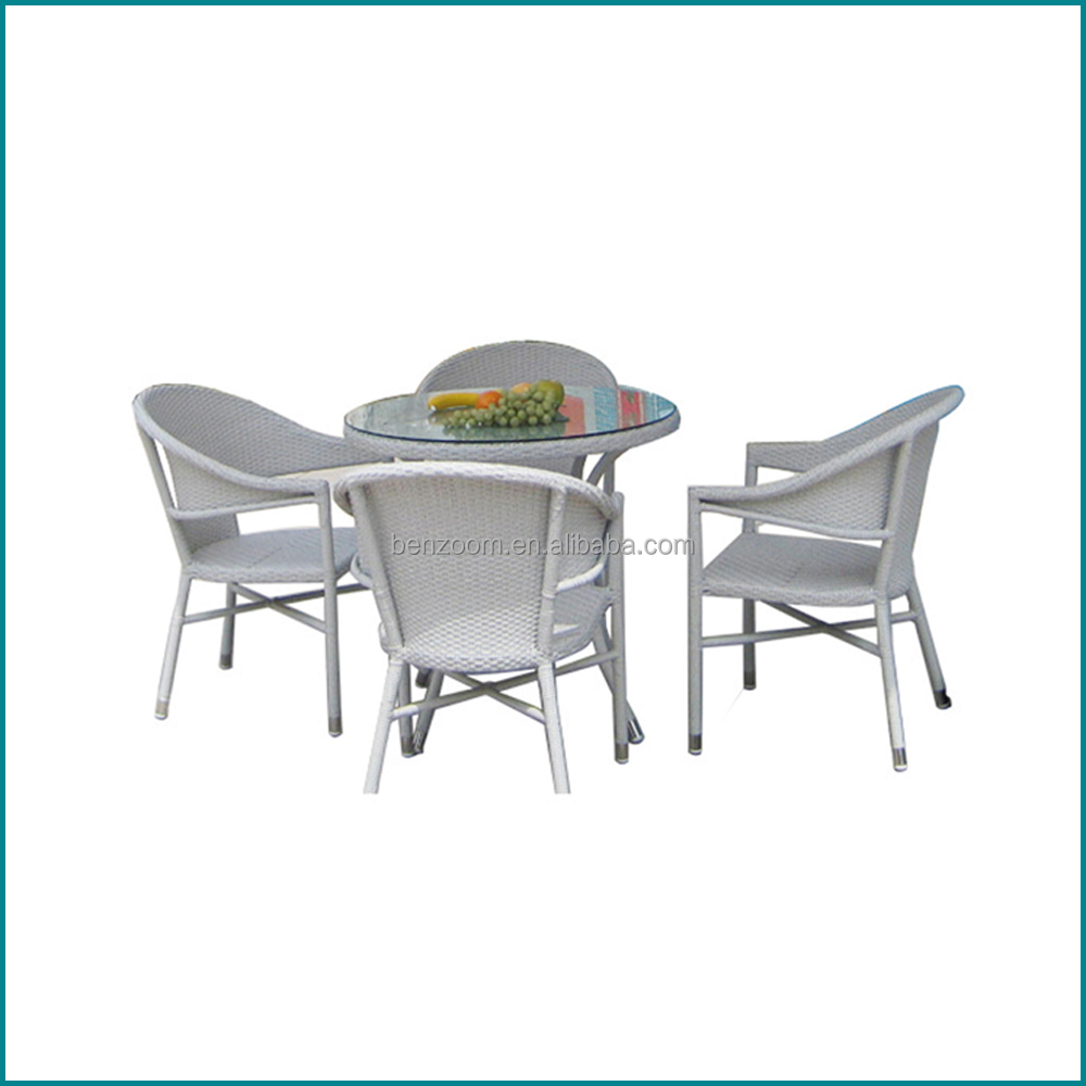 Outdoor rattan cube garden furniture dining table and chairs JJ-088TC