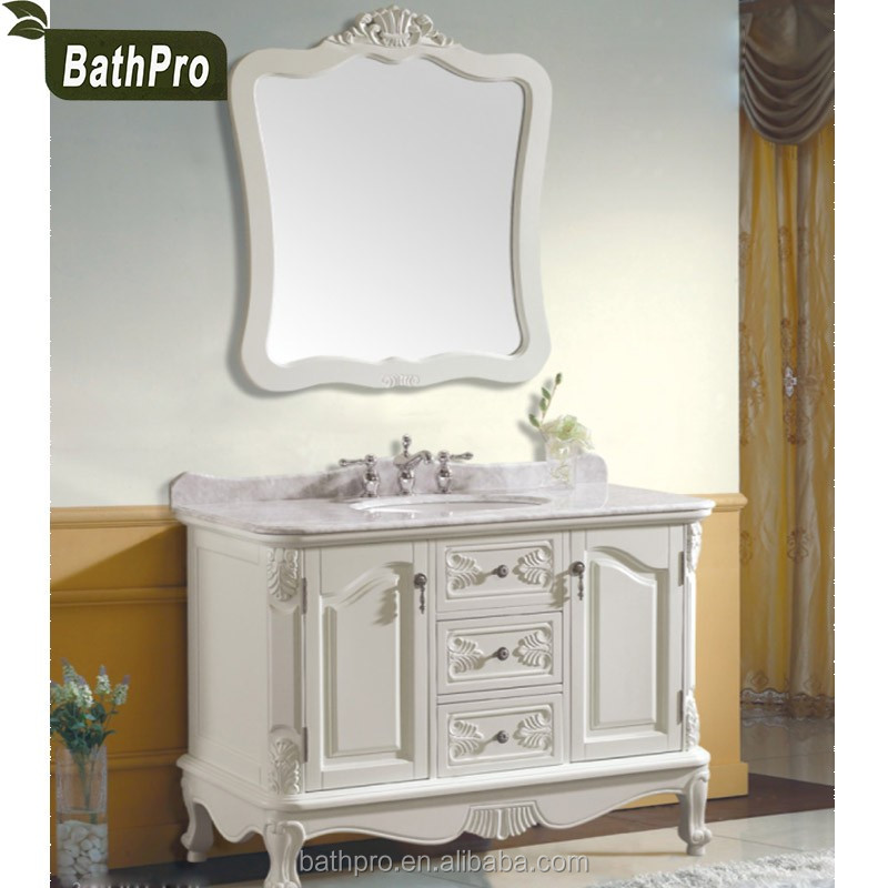 1200 MM Marble Counter Top French style Antique Wood Bathroom Vanity Cabinet