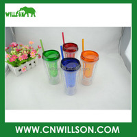 2016 new Item 16oz 450ml TRITAN double wall plastic fruit cups tumbler with straw