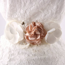 White Satin Pink and White Flowers with Crystal Rhinestones Wedding Dress Bridal Sash Applique Belt