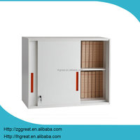 small size short outdoor storage cabinet in color white orange handle