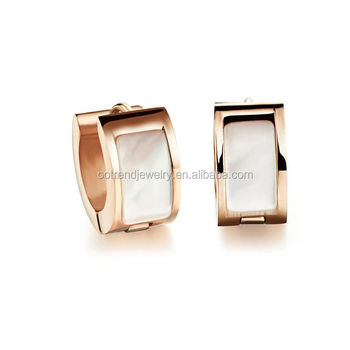 Huggie design mother of pearl inlay earring imported from china jewelry factory