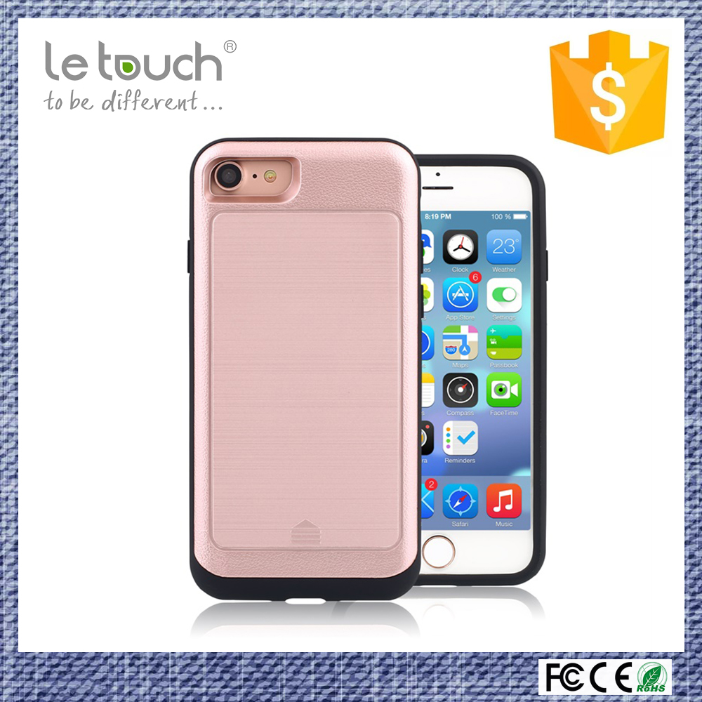shenzhen company supplier Anti-stretch TPU frame within hard PC bumper credit card slot for iphone 7 case