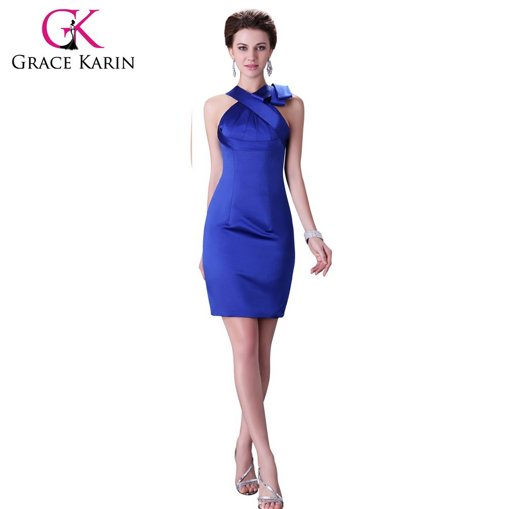 Grace Karin Sexy Fashion Satin Short Royal Blue Cocktail Dresses CL2017