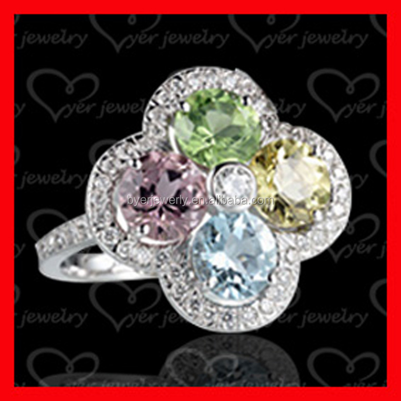925 Silver Crown Ring colored stone silver ring Made with Zirconia