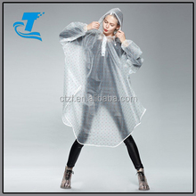 Women Polka Dot Cloak Raincoat Eco-friendly Hooded Rain wear Poncho for Bicycle