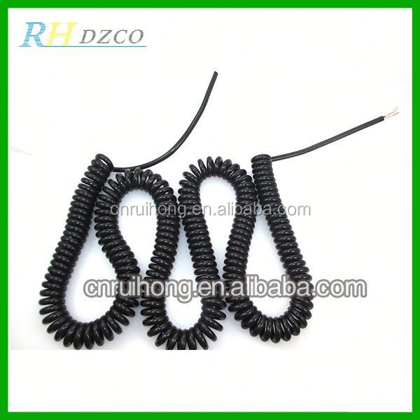 4 core PVC/PU spring cord with PP or PE insulation and 28AWG conductor