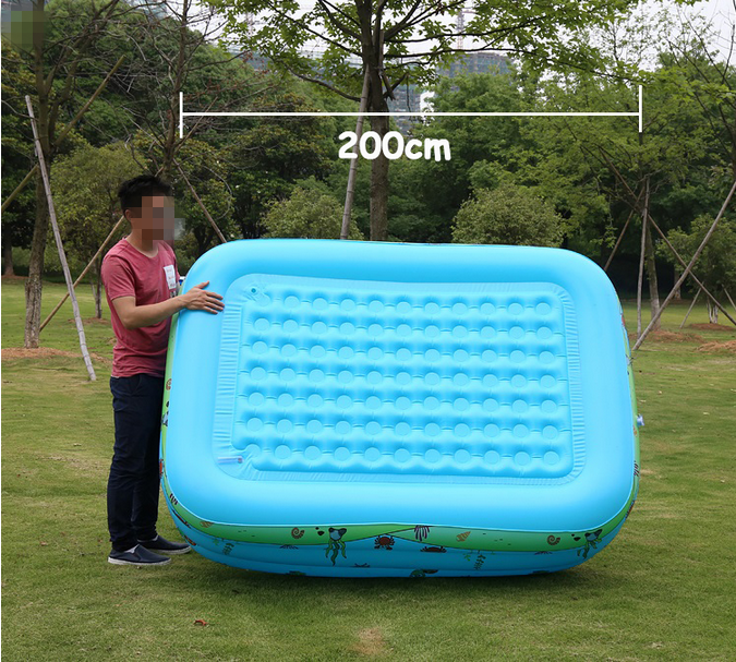 Summer family children swimming inflatable pool slide