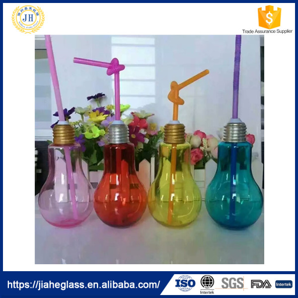 hot selling 100ml juice,coffee,tea,milk,beer,beverage color glass light bulb shape bottle with straw