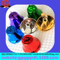 Wholesale 16MM horn Mixed Colorful Merry Christmas Metal Copper Xmas Jingle Bells Charms Decoration