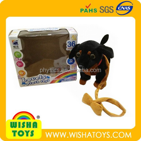 2015 hot selling musical draging plush puppy stuffed black puppy