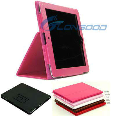 Foldable Leather Case Cover with kickstand for New iPad 3, for iPad 2