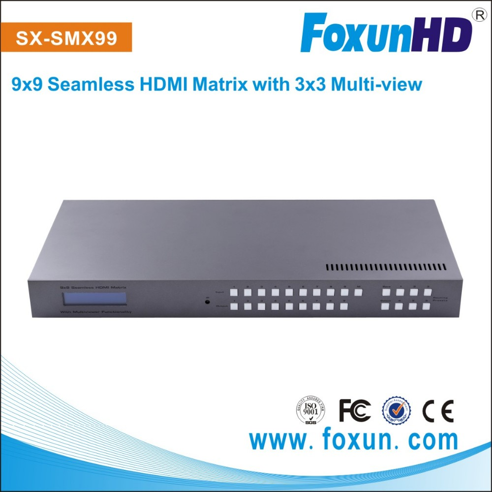 Shunxun HDCP compliant support IR RS232 control HDMI matrix with 3x3 multiview