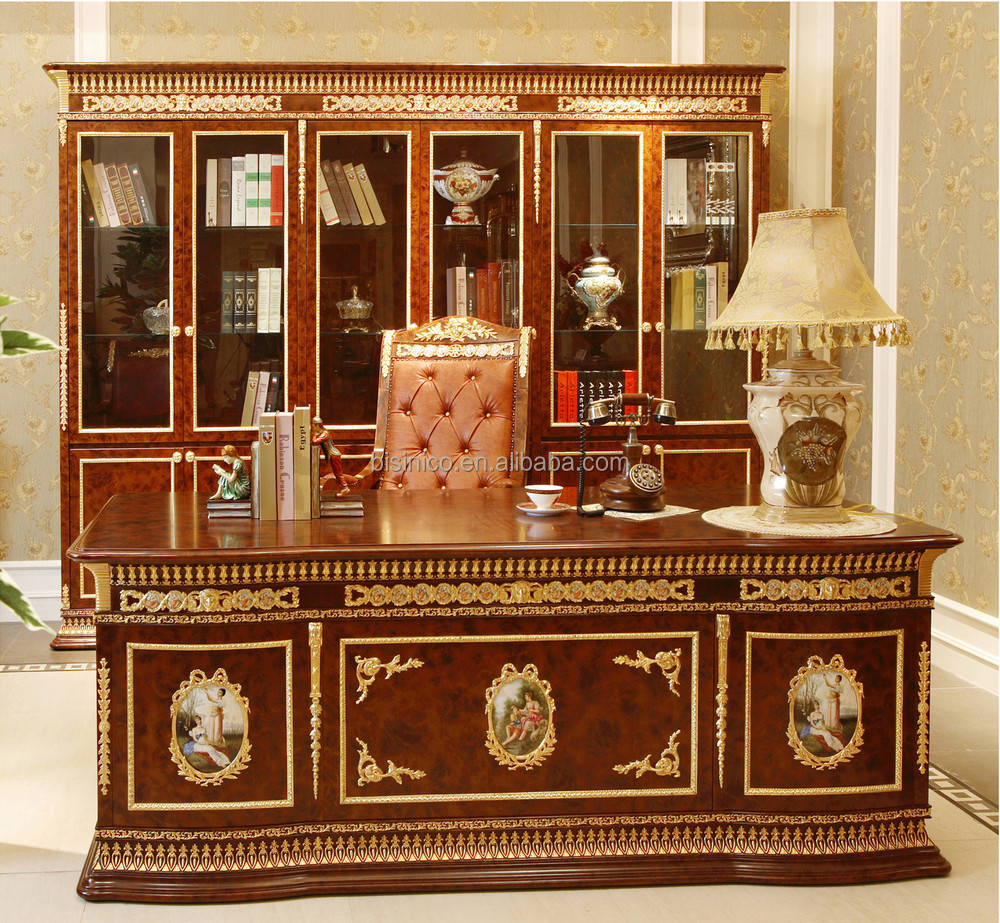 Luxury French Louis XV Style Classic Office Desk/ Antique Royal Brass Mounted Mahogany Executive Desk/ Home Study Writing Desk