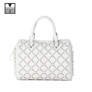 China Supplier Fashion Designer Pearl Studs PU Leather Material Ladies Tote Bags Wholesale Handbag