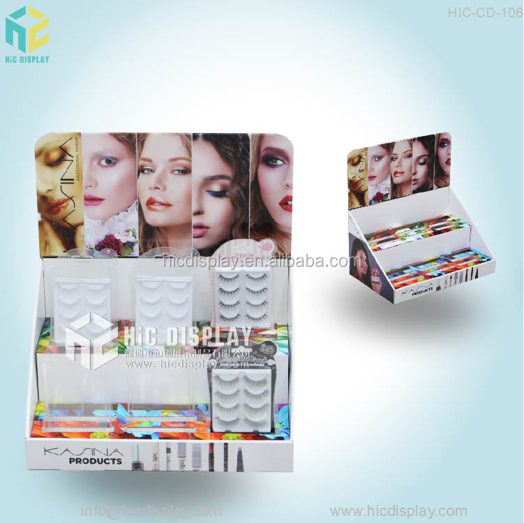custom design cosmetic cardboard counter display case