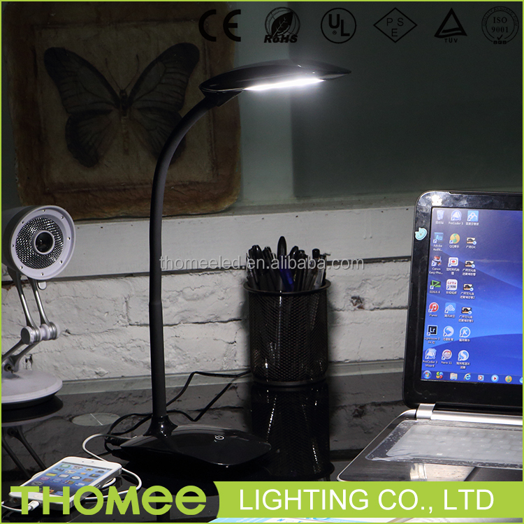 Plastic material brightness adjustable table lamp flexible black led gooseneck lamp for office