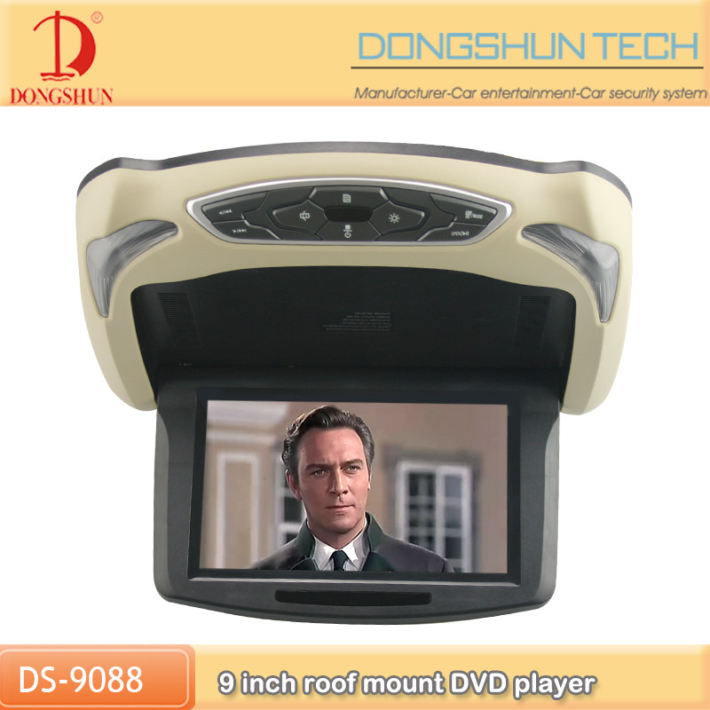 high quality car overhead wide view angle full HD roof dvd player with av monitor tv optional