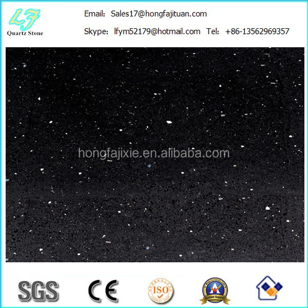 quarry stone/ black sparkle quartz stone slab for home countertops