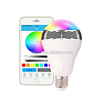 New Wireless Remote Control Bluetooth Smart Led Light Bulb with bluetooth speaker