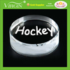 Laser Engraved Crystal Hockey Puck Paperweight with Black Base for Sport Awards