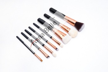 Luxury style rose gold tube cosmetic makeup brushes set with zipper case package