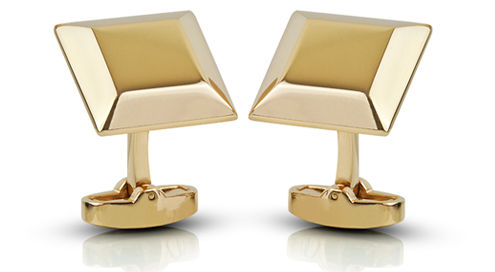 9 ct Gold Bevelled Square Engraved Cufflinks