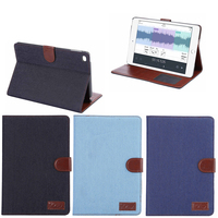 Factory Price Jeans Material Leather Wallet Case for iPad Mini 4, Sample Available