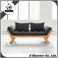 E-Skarner black modern sofa chair with two seat and cushions