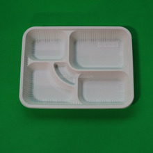 Disposable Divided Food Plate 5 Compartment Lunch Plastic Tray with Lid