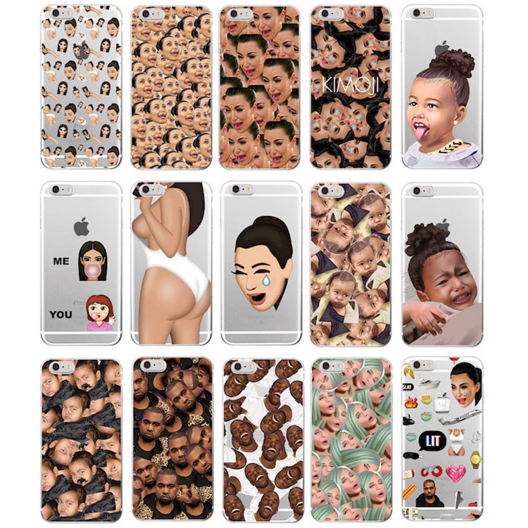 TOMOCOMO Kimoji Kim Kardashian kanye west north kylie jenner Soft TPU Phone Case Cover Coque For iPhone 7Plus 7 6 6S 5 5S SE