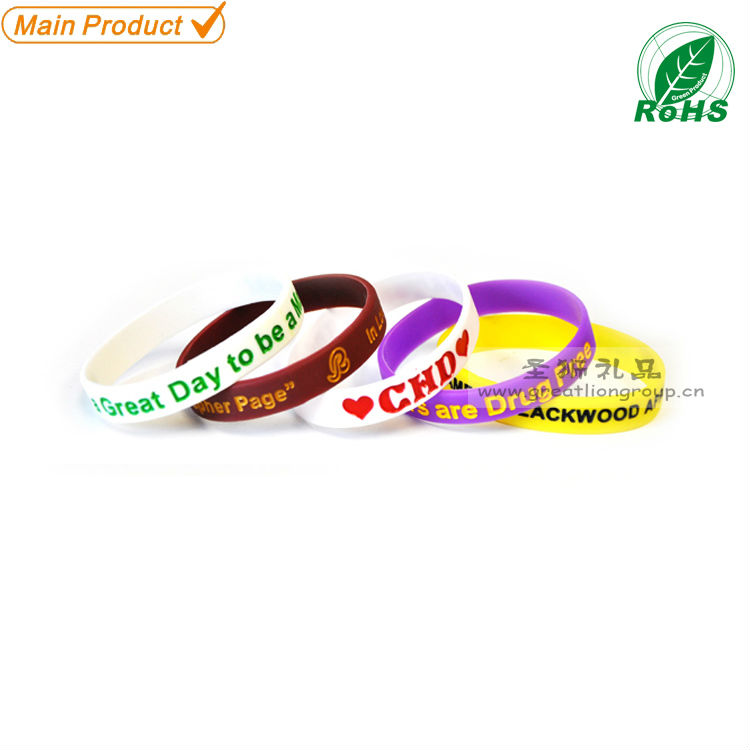 Cheap promotion debossed ink filled silicone wristband