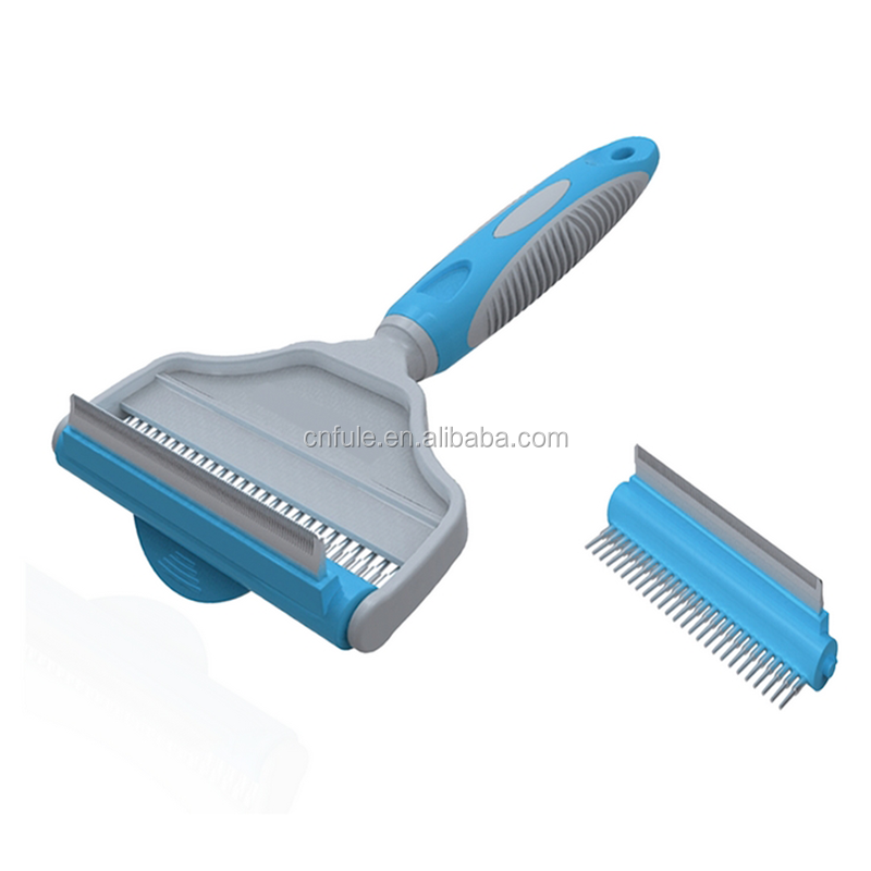 Size L M S stainless steel 2-in-1 de-shedder pet animal dematting rake dog brushes and combs