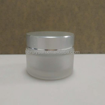 30g 50g Frosted Clear Cosmetic Glass Jars with LUXURY GOLD silver Caps