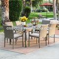 cheap outdoor furniture rattan dining sets table with 6 seater chairs
