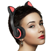 Wireless Cat ear Headphone Foldable Adjustable headphones cat headset with Mic 7 Colors LED light Flashing glowing