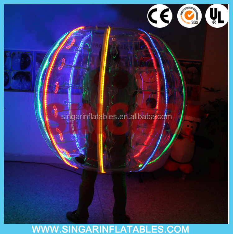 Newest style LED lighting TPU PVC bubble soccer bubble football human bubble ball use in night good quality
