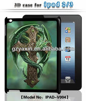 Custom for ipad case,new plastic case with 3D image for iPad2/3
