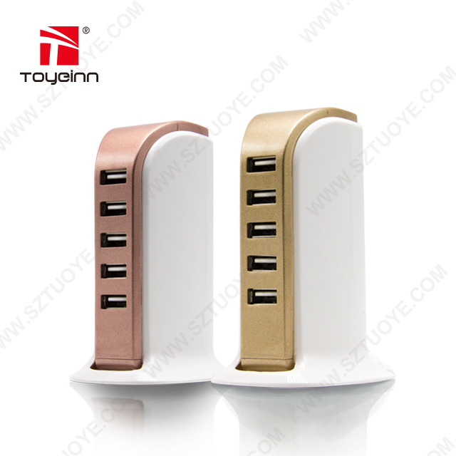 6A High Speed 5 Port Desktop Charging Station USB Charger Multiple USB Charger for home accessories