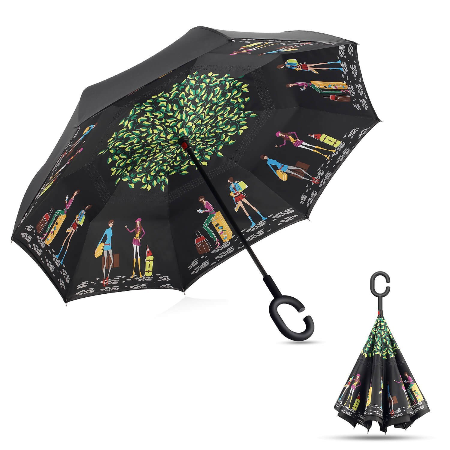 Ready to ship factory windproof hands free car reverse umbrella