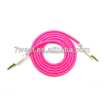 colored fabric braided 3.5mm auxiliary cable