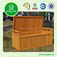 Garden Wood Cushion Storage Box / Outdoor Wooden Bench With Storage