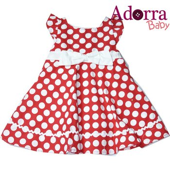 New high quality cute Red Girls Dress white dots for baby girl dresses 12-24 months