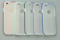 Hot Selling Dual Color Slim Transparent Clear Back Cover Hybrid PC+TPU Round Hole Case For iPhone 6 4.7 Inch 6 Plus 5.5''