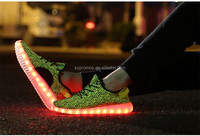 pu USB rubber outsole yeezy material and women gender adults led shoes